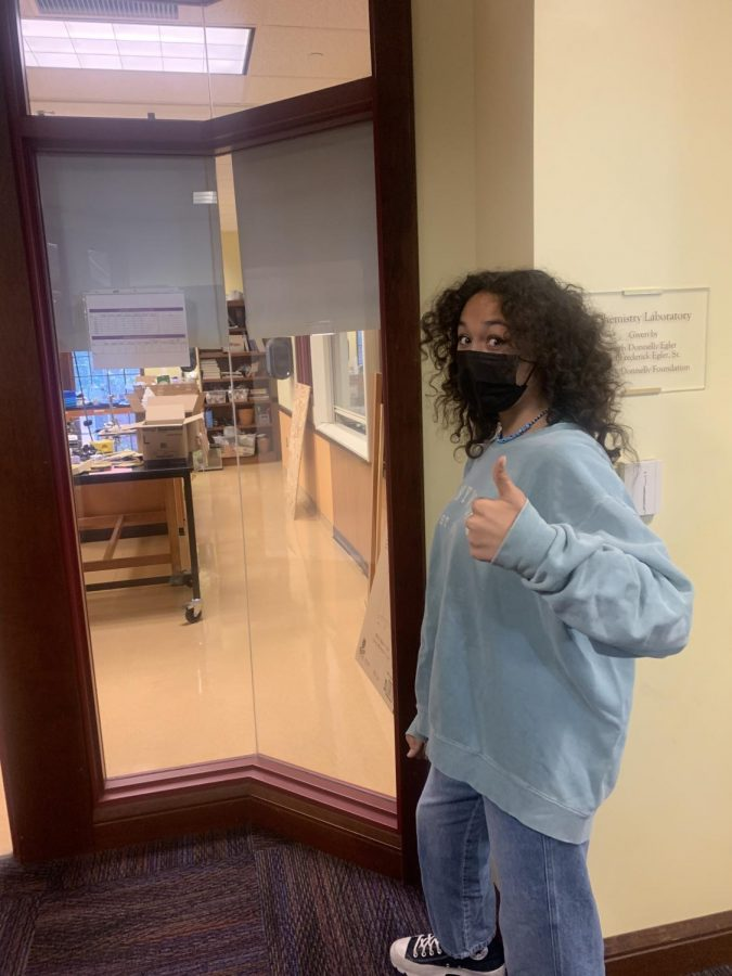 Freshman and respected associate of Dr. Horton, Jianna Miller-Evonich, poses in front of the TikTok-positive freshman lair known as Room 118.