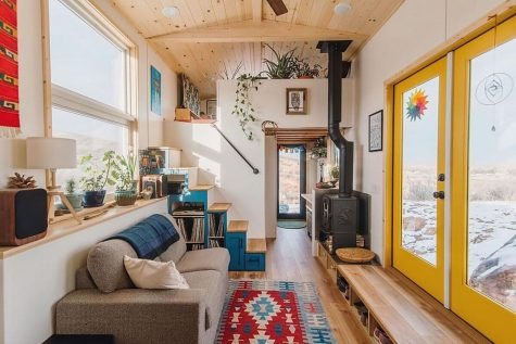 The cozy, humble and efficient interior of a tiny house