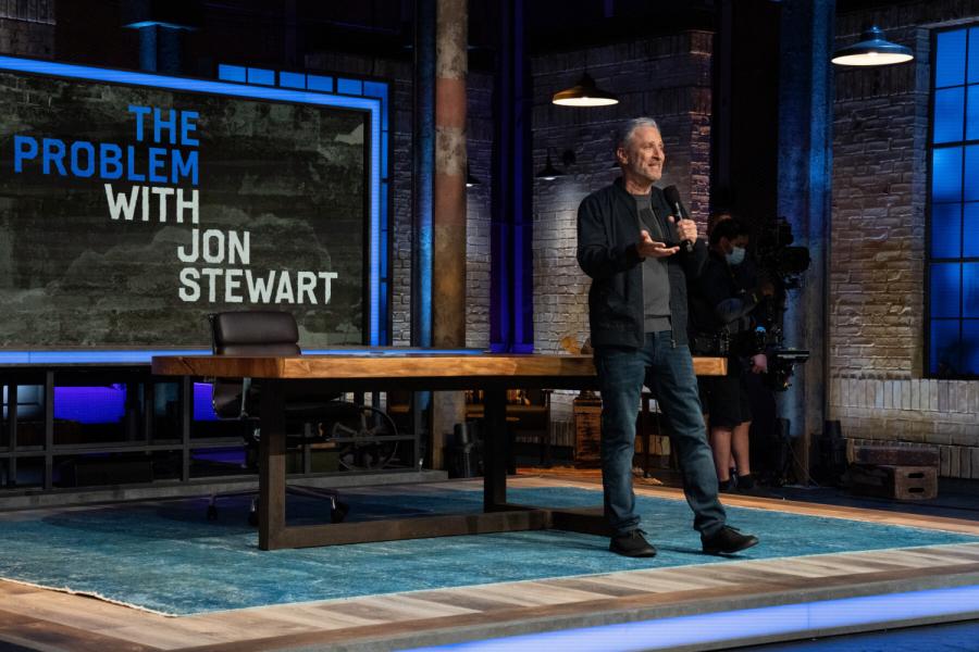 Jon Stewart addressing his audience at The Problem with Jon Stewart